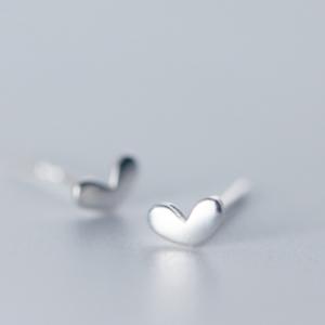 silver heart studs