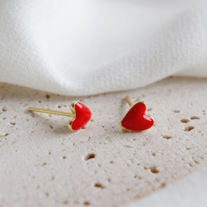 18K GOLD PLATED 925 SILVER HEART EARRINGS
