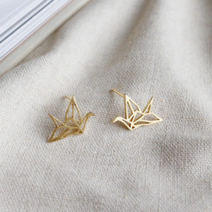 earrings - 18k gold plated 925 silver - origami bird - Alyssa2
